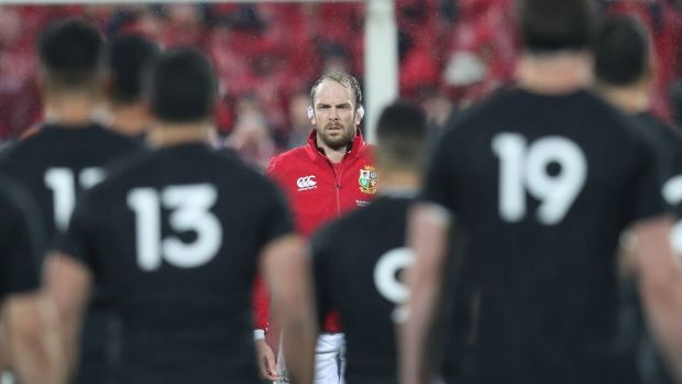 Alun Wyn Jones faces down the Haka during the 2017 Lions tour to New Zealand. Photgraph: Billy Stickland/Inpho