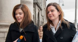 Brenda Quinn (right ), with her sister Colette, will be the first witness to give evidence in the family's court action against IBRC over responsibility for €2.34 billion in bank loans. Photograph: Collins Courts