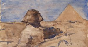 The Sphinx Half in Shadow and Chephren Pyramid, Giza, Egypt (1892), Nathaniel Hone the Younger (1831-1917) Graphite and watercolour on paper.Photograph:  National Gallery of Ireland