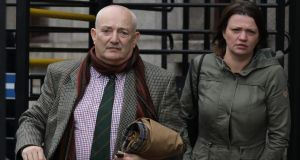Brian Johnson, Jude Johnson-Rice's grandfather,  and Jill, Jude's mother, are pictured outside the Four Courts on Tuesday. Photograph: Collins Courts.