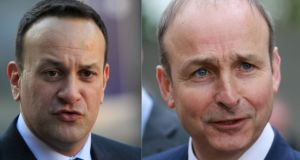 Fianna Fáil leader Micheál Martion to An Taoiseach Leo Varadakr that  'people are quite frankly fed up of yarns, fed up of spin' Photographs: Gareth Chaney/ Collins and Nick Bradshaw