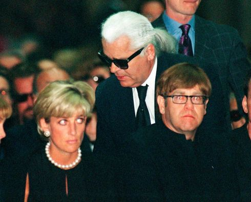 Karl Largerfefld with Princess Diana and Elton John at the memorial mass for designer Gianni Versace in Milan's gothic cathedral, in July 1997. Photograph: Luca Bruno/AP