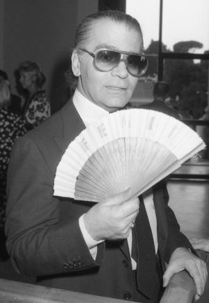 Karl Lagerfeld at the opening of an exhibition at Rome's National Galley of Modern Art in October 1985 to celebrate the 20-year-collaboration between Lagerfeld and the Fendis. Photograph: Massimo Sambucetti/AP