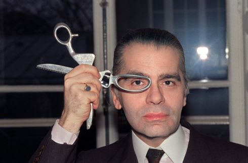 Karl Lagerfeld in his fashion studio in March 1987. Photograph: Pierre Guillaud/AFP