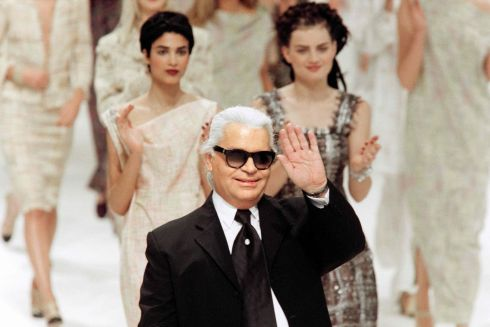 At the end of the presentation in Paris of Chanel's Spring-Summer 98 ready-to-wear collection in October 1997. Photograph: Peirre Verdy/AFP