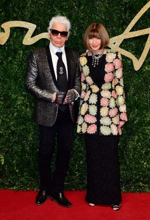 With Vogue's Anna Wintour at the 2015 British Fashion Awards at the London Coliseum, St Martin's Lane. Photograph:  Ian West/PA Wire