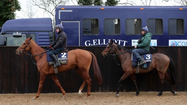 Samcro and Tiger Roll are put through their paces at Gordon Elliott's yard. Photograph: Niall Carson/PA