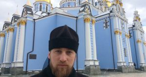 Father Mikhail at St Michael's monastery in central Kiev,  which served as a refuge and hospital for protesters during the 2013-14 Maidan revolution. On February 20th, 2014, the bodies of demonstrators shot dead by the police were brought there