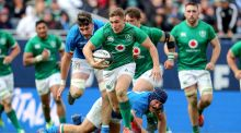 Ireland's Jordan Larmour makes a spectacular break to set up a try for Luke McGrath against Italy at Soldier Field, Chicago. Photograph: Dan Sheridan/Inpho