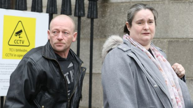 Shane and Carmel Skeffington, of Bandana, Tourlesrane, Co. Sligo pictured outside the Four Courts. Photograph: Collins Courts
