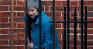 British  prime minister Theresa May leaving  Downing Street. She will be  meeting  Jean-Claude Juncker in Brussels on Wednesday evening. Photograph: Getty Images