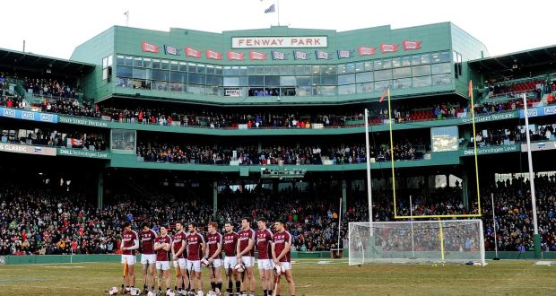 b313b6d58d8ed Galway hurlers line up in Boston for the Fenway Classic final against Clare  in November.