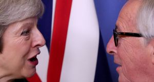 Theresa May and Jean-Claude Juncker in Brussels, December 11th, 2018. Photograph: Yves Herman/Reuters/File Photo