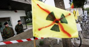 A protest at the   Kleine Brogel nuclear base in Belgium in 2006. Photograph:  Yorick Jansens/AFP/Getty Images)