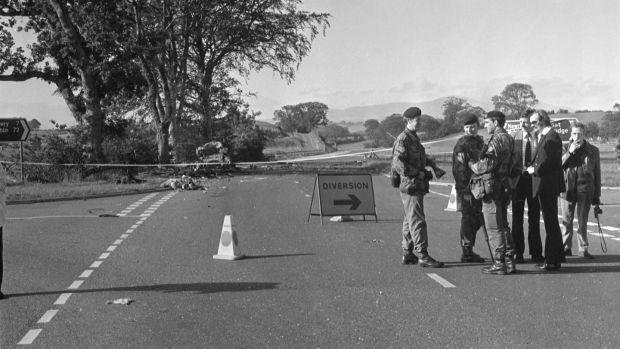British soldiers at the scene of the Miami Showband Killings on the A1 road at Buskhill in Co Down, 31st July 1975. Photograph: Independent News and Media/Getty Images