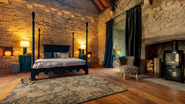One of the bedrooms in Tubrid Castle, Co Kilkenny. Photograph: Dylan Vaughan