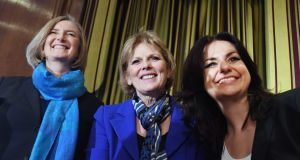 MPs Sarah Wollaston, Anna Soubry and Heidi Allen during a press conference in London where they announced they have resigned from the Conservative Party. Photograph: Andy Rain/EPA