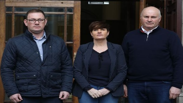 Micheal (left) Kathryn and Tom McGagh at the Four Courts yesterday where the action against the HSE was settled for €265,000. Photograph: Collins
