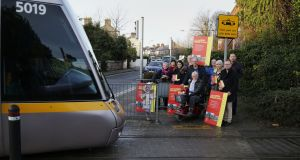 MetroLink protesters at the Beechwood Luas stop, in Rathmines, Co Dublin. Photograph: Nick Bradshaw/The Irish Times