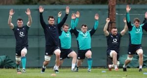 James Ryan, Quinn Roux, Jack McGrath, Cian Healy, Jack Conan and Jordi Murphy at Ireland squad training at Carton House. Photograph: Billy Stickland/Inpho