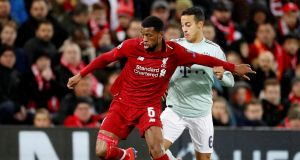 Liverpool's Georginio Wijnaldum under pressure from Bayern Munich's Thiago during the goalless draw at Anfield on Tuesday night. Photograph: Carl Recine/Reuters