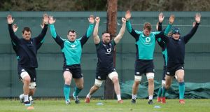 Quinn Roux, Cian Healy, Jack Conan, Jordi Murphy and Jacob Stockdale during Ireland training ahead of the Six Nations clash with Italy. Photo: Billy Stickland/Inpho