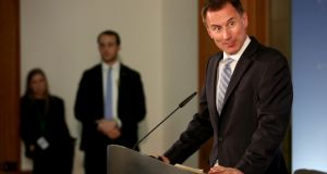 British foreign secretary Jeremy Hunt attends a press conference after a meeting with  Heiko Maas  in Berlin. Photograph:  EPA/ Adam Berry