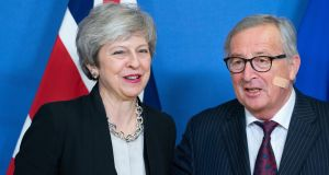 UK prime minister Theresa May and Jean-Claude Juncker, president of the European Commission, in Brussels on Wednesday. Photograph: Jasper Juinen/ Bloomberg