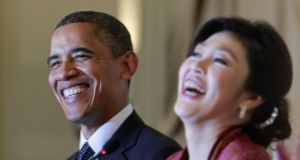 Former US president Barack Obama and Thailand's prime minister Yingluck Shinawatra in 2012. Photograph: Jason Reed
