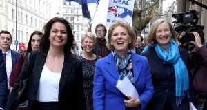 Former  Conservative  MPs Heidi Allen, Anna Soubry and Sarah Wollaston arrive at a news conference in London.  Photograph:  Reuters/ Simon Dawson