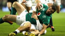 Ireland's Robbie Henshaw  is tackled by Jonny May of England during their   Six Nations defeat at the Aviva Stadium on February 2nd. Photograph: Reuters