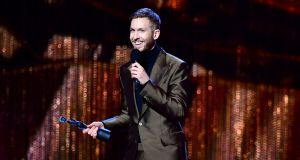 Calvin Harris accepts the award for British producer of the year at the 2019 Brit awards. Photograph: Victoria Jones/PA