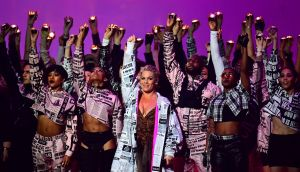 Pink performing at the Brit Awards 2019 at the O2 Arena, London. She picked up the award for outstanding contribution to music. Photograph: Victoria Jones