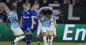 Manchester City's Leroy Sane after scoring against his old club Schalke. Photograph: Getty Images