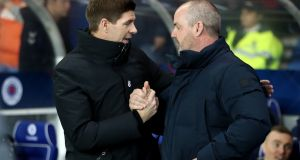 Rangers manager Steven Gerrard and Kilmarnock manager Steve Clarke during the William Hill Scottish Cup fifth round replay match at Ibrox Stadium, Glasgow.