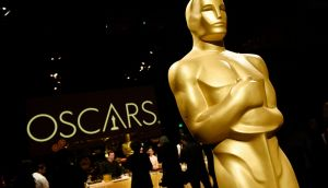 An Oscar statue is pictured at the press preview for the 91st Academy Awards Governors Ball earlier this month. Photograph: AP