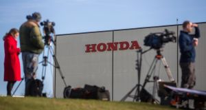 Media gather outside the Honda Motor plant in Swindon. It isn't good news. Photograph: James Beck/Bloomberg