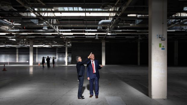 Troy Studios CEO Siún Ní Raghallaigh and chairman Joe Devine at the announcement in September of an expansion at the Limerick studios. Photograph: Sean Curtin/True Media