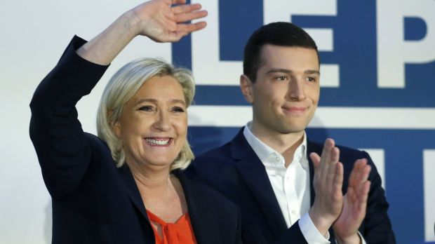French far-right National Rally leader Marine Le Pen and the head of the party's list for the European elections, Jordan Bardella, at a campaign meeting in Saint-Ébremond-de-Bonfossé. Photograph: Chesnot/Getty Images