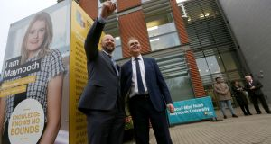 Minister for Education  Joe McHugh  and President of Maynooth University, Philip Nolan at the opening of the new school of education at Maynooth University. Photograph: Laura Hutton/The Irish Times