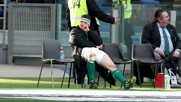Brian O'Driscoll during his sin binning. Photograph: Billy Stickland/Inpho