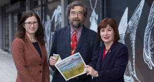 Minister for  Heritage  Josepha Madigan (right) is pictured at the  National Biodiversity Conference at Dublin Castle with Jane Stout, Professor in Botany at Trinity College Dublin, and Prof John Fitzgerald, chairman of the Climate Change Advisory Council. Photograph:  Colm Mahady/Fennell Photography.