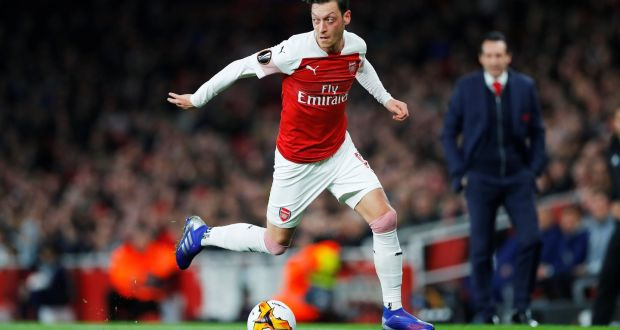 6b66fd29a08 Arsenal s Mesut Özil in action during the Europa League round of 32 second  Leg against Bate