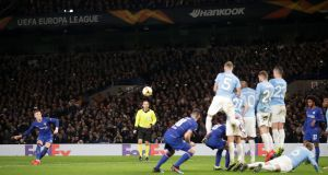 Chelsea's Ross Barkley scores his side's second goal  during the  Europa League round of 32 second leg match against Malmö at Stamford Bridge. Photograph:  Adam Davy/PA Wire