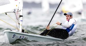 Finn Lynch became the first Irish man to make a Laser medal race at the World Sailing Cup in Miami this month. Photograph: Pedro Martinez
