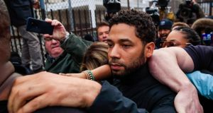 Aactor Jussie Smollett leaving  Cook County Jail in Chicago after his release on Thursday. Photograph: Tannen Maury/EPA