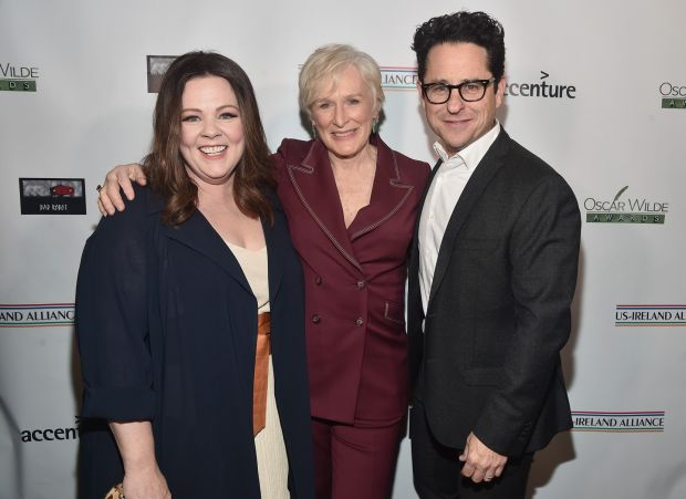 Melissa McCarthy, Glenn Close and JJ Abrams attend Oscar Wilde Awards. Photograph: Alberto E. Rodriguez/Getty