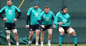 Ultan Dillane and Sean Cronin during an Irish training session at Carton House. Photograph: Billy Stickland/Inpho