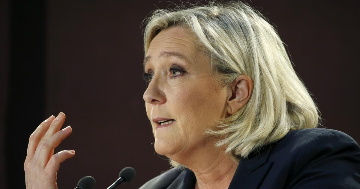 Marine Le Pen at a meeting in Saint-Ebremond-de-Bonfosse. Photograph: Chesnot/Getty Images