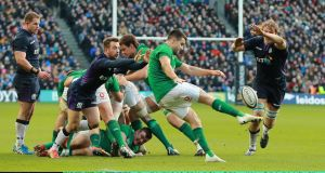 Conor Murray in action against Scotland; his box kicking has been uncharacteristically poor this year.  Photograph:  David Rogers/Getty Images